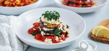 Eggplant Florentine with Tofu Ricotta & Chickpea Pasta