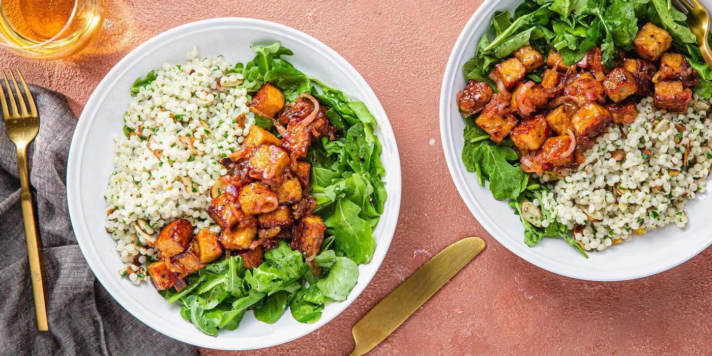 Spicy Mango Tempeh with Toasted Almond Couscous & Lemon Arugula