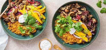Mushroom Fajita Bowls with Spanish Rice & Mango Slaw
