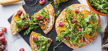 Sweet Potato Flatbread with Roasted Grapes & Cashew Cheese