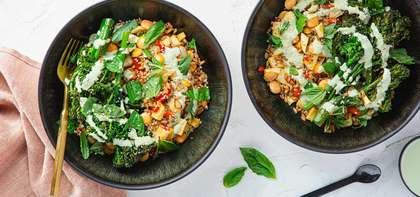 Calabrian Bean & Veggie Bowls with Toasted Farro & Basil Cashew Sauce