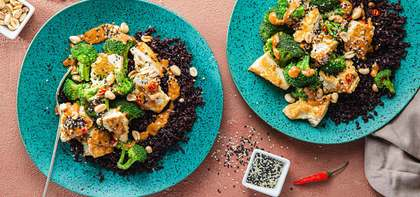 Tofu Peanut Stir-Fry with Charred Broccoli & Midnight Grains