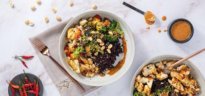 Tofu Peanut Stir-Fry with Charred Broccoli & Midnight Grains
