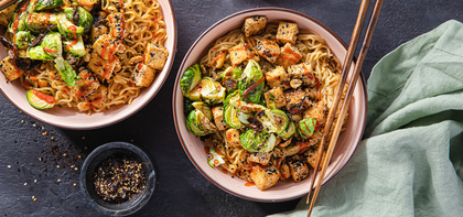 Peanut Noodles with Nori-Spiced Tofu & Brussels Sprouts