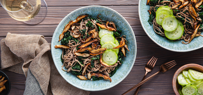Creamy Tahini Noodles with Crispy Shiitakes & Quick Pickles