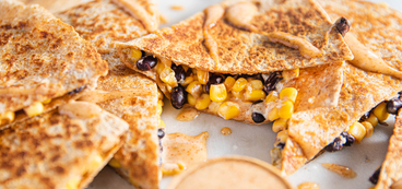 Black Bean & Corn Quesadillas with Green Chile & Chipotle Mango Aioli
