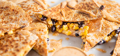 Black Bean & Corn Quesadillas with Green Chile & Chipotle Mango Aioli
