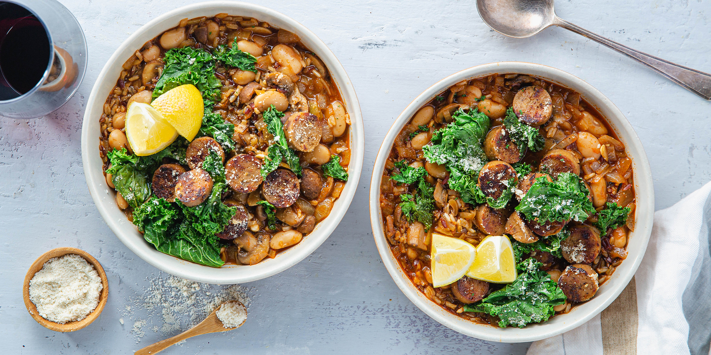 Italian Butter Bean Stew with Crispy Sausage & Parmesan Kale
