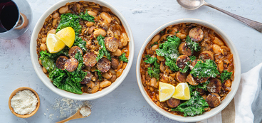 Italian Butter Bean Stew with Crispy Sausage & Parmesan Kale