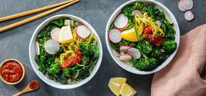 Miso Coconut Ramen Bowls with Charred Broccolini & Radishes