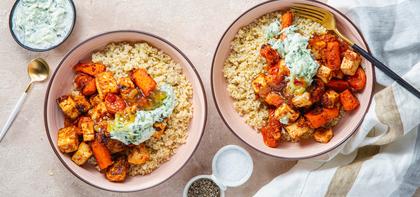 Kashmiri Roasted Vegetables & Tofu Paneer with Cucumber Raita & Millet
