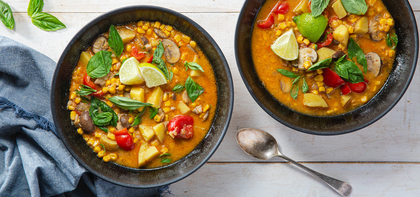 Thai Vegetable Corn Chowder with Basil & Lime