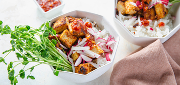 Almond Butter Tofu with Pea Shoots & Sticky Rice