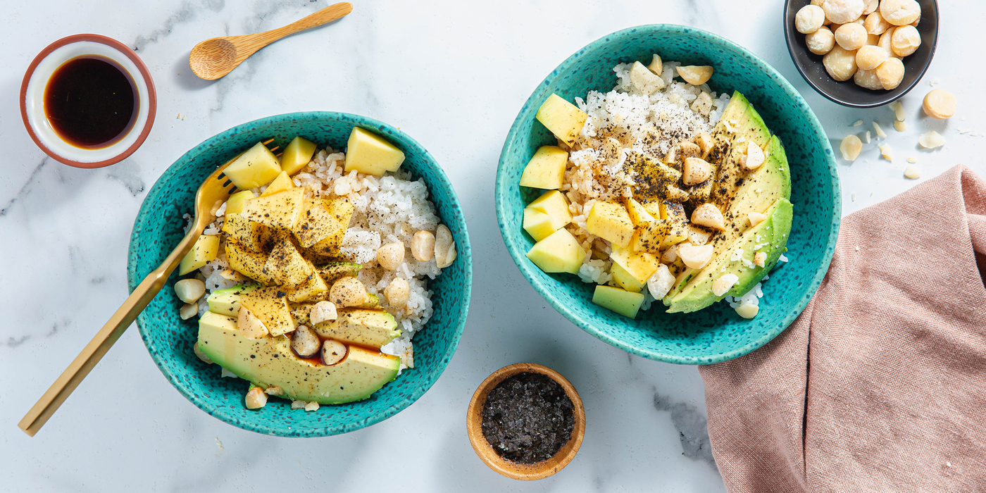 Mango Poke Bowls with Macadamia Nuts & Nori