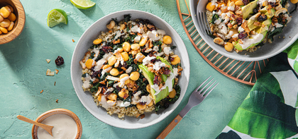 Cashew Coconut Grain Bowls with Chili Lime Lupini Beans & Tahini Dressing