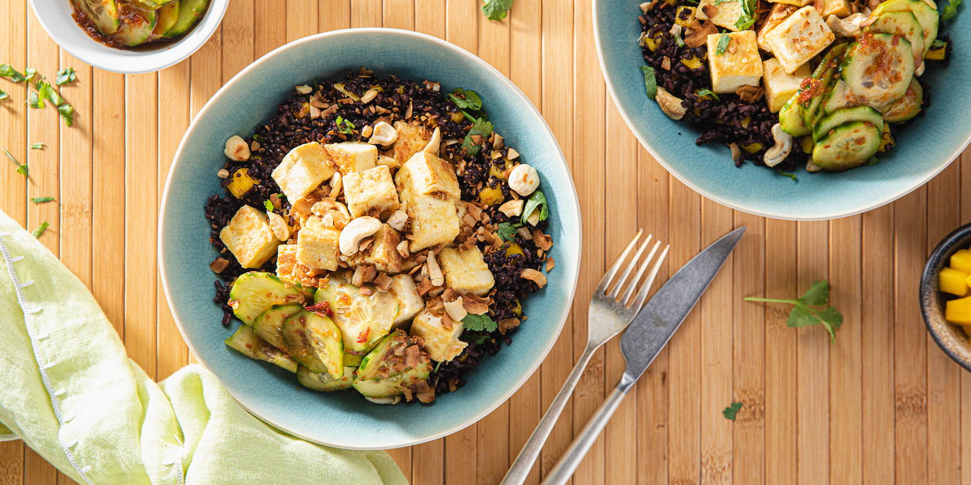 Coconut Tofu with Mango Midnight Grains and Spicy Cucumbers