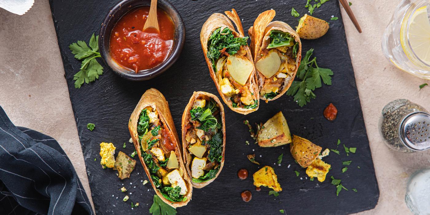 Crispy Tofu Burritos with Garlic Parsley Potatoes & Tomato Chutney
