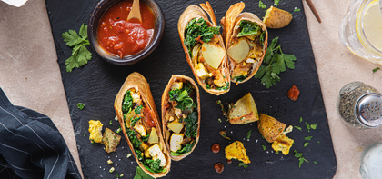 Crispy Tofu Burritos with Garlic Parsley Potatoes & Tomato Chutney