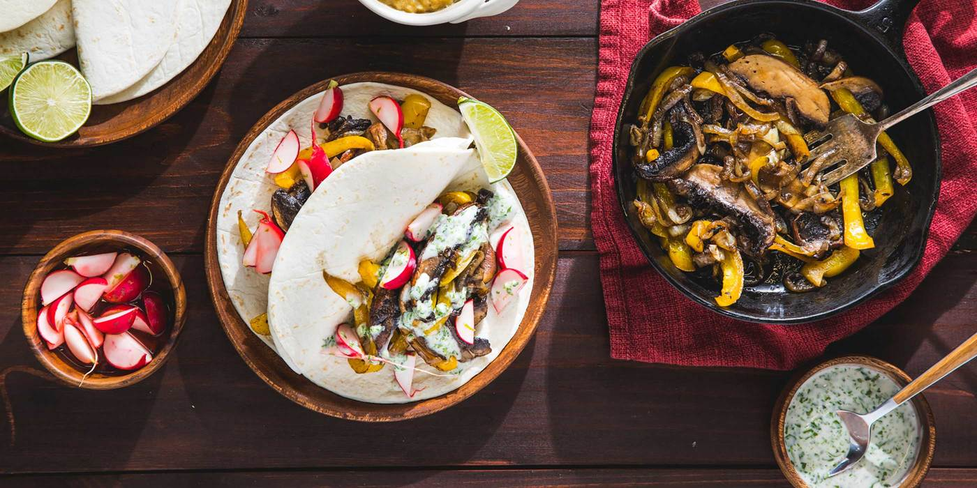 Portobello Fajitas with Cilantro Sauce and Lime Radishes
