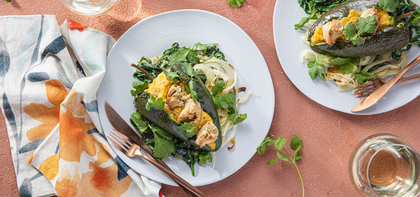 Sweet Corn Stuffed Poblanos with Creamed Spinach & Cilantro