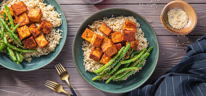 Gochujang Tofu Bowls with Brown Rice & Sesame Garlic Green Beans