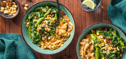 Creamy Peanut Noodles with Gingered Asparagus & Collard Greens
