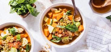 Red Curry Kimchi Ramen with Crispy Onions & Basil