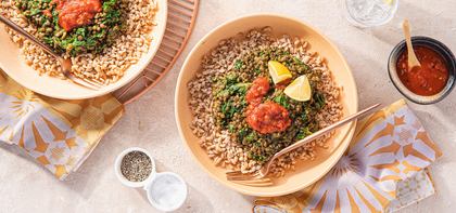 Green Dal with Farro & Tomato Chutney