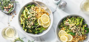 Sicilian-Style Broccoli with Tarragon Hazelnut Relish & Lemon Caper Millet