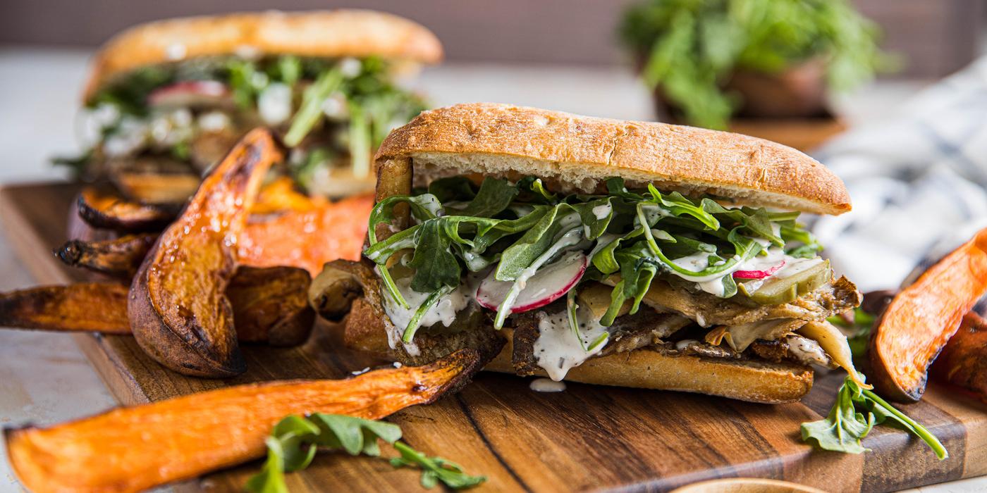 Crispy Mushroom Chick'n Sandwiches with Sweet Potato Fries & Garlicky Ranch