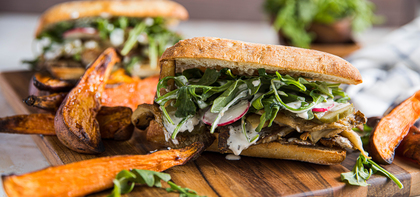 Crispy Mushroom Chick'n Sandwiches with Sweet Potato Fries & Garlicky Ranch