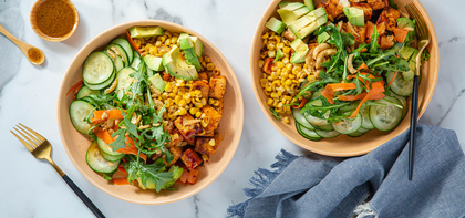 Rainbow Vegetable Bowls with BBQ Tofu & Sweet Corn