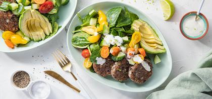 Crispy Black Bean Patties with Avocado Spinach Salad & Lime Aioli