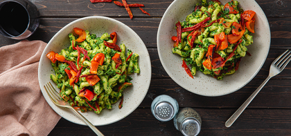 Kale Pesto Cavatappi with Charred Peppers & Sun-Dried Tomatoes