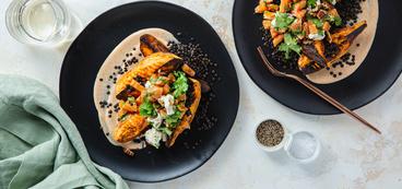 Roasted Sweet Potatoes & Beluga Lentils with Citrus Pecan Salad & Chipotle Crema