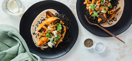 Roasted Sweet Potatoes & Beluga Lentils with Citrus Pecan Salad & Chipotle Crema