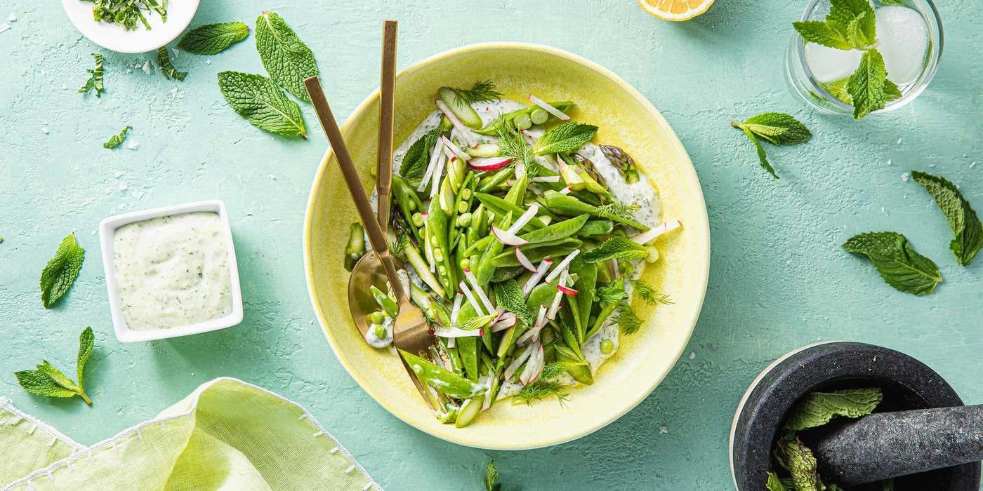 Snap Pea and Asparagus Salad with Minty Yogurt & Radishes