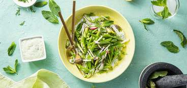 Snap Pea and Asparagus Salad with Minty Yogurt & Radishes
