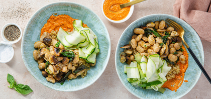 Romesco Grain Bowls with Pan-Roasted Mushrooms & Butter Beans