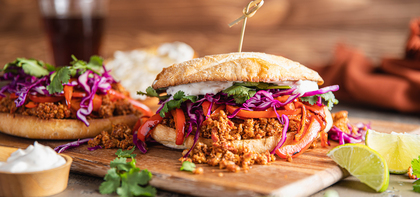 Veggie Tortas with Cauliflower Walnut Meat & Garlic Aioli