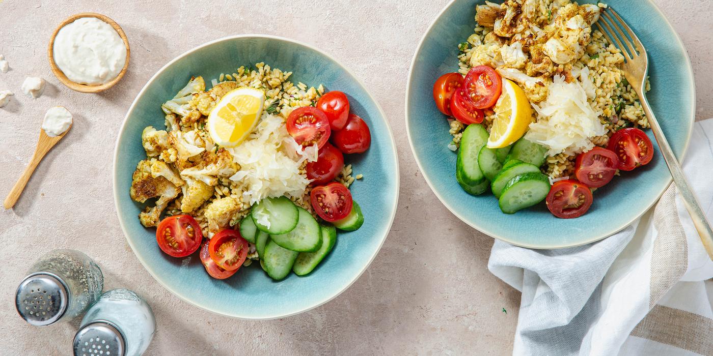 Middle Eastern Tabbouleh Bowls with Spiced Cauliflower & Tahini Yogurt