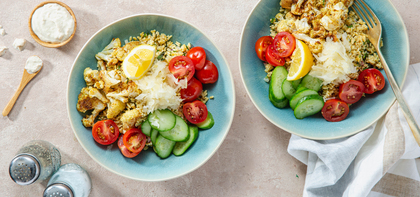 Middle Eastern Tabbouleh Bowls with Spiced Cauliflower & Tahini Yogurt