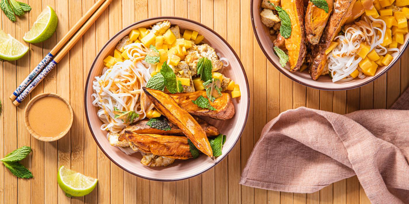 Thai Mango Noodle Bowls with Coriander Tofu & Roasted Sweet Potato