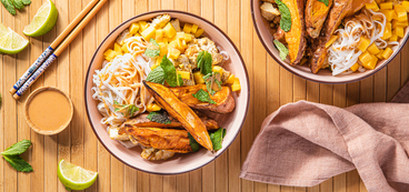 Thai Mango Noodle Bowls with Coriander Tofu & Roasted Sweet Potato