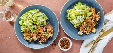 Loaded Cauliflower Steaks with Coconut Bacon & Chives