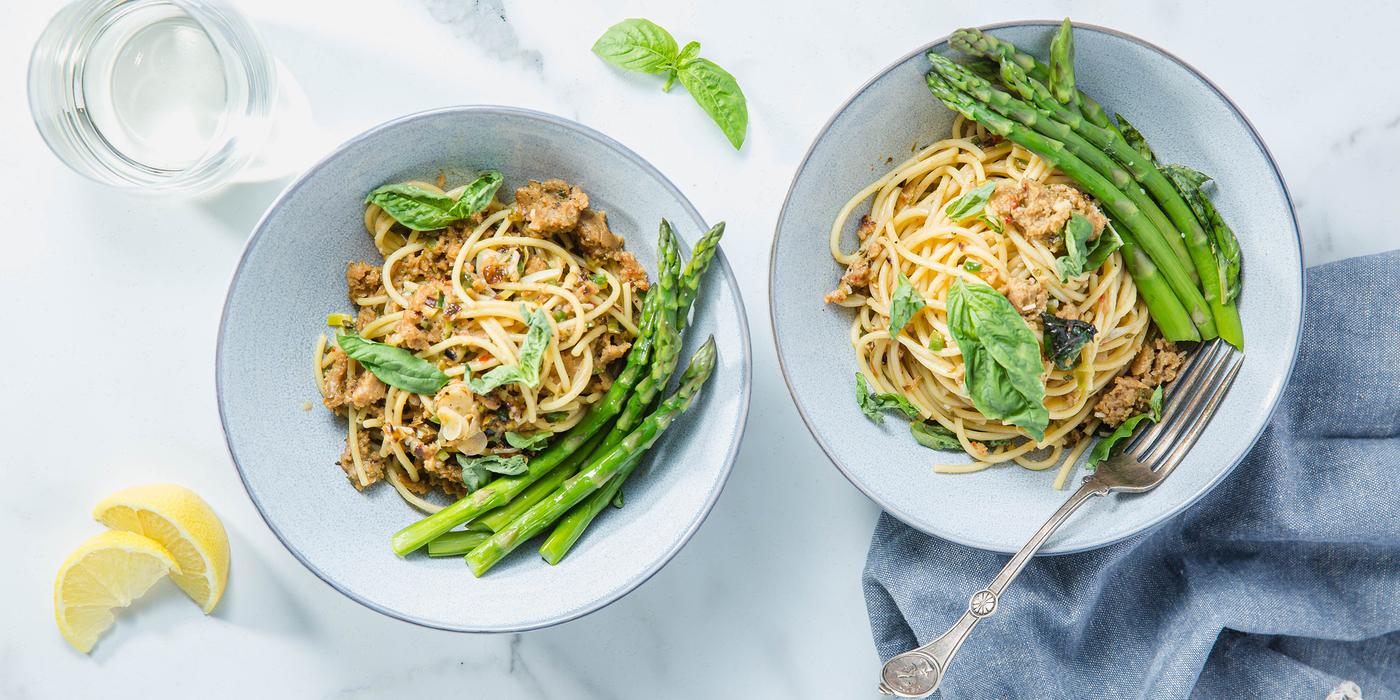 Lemon Basil Spaghetti with Italian Sausage & Asparagus