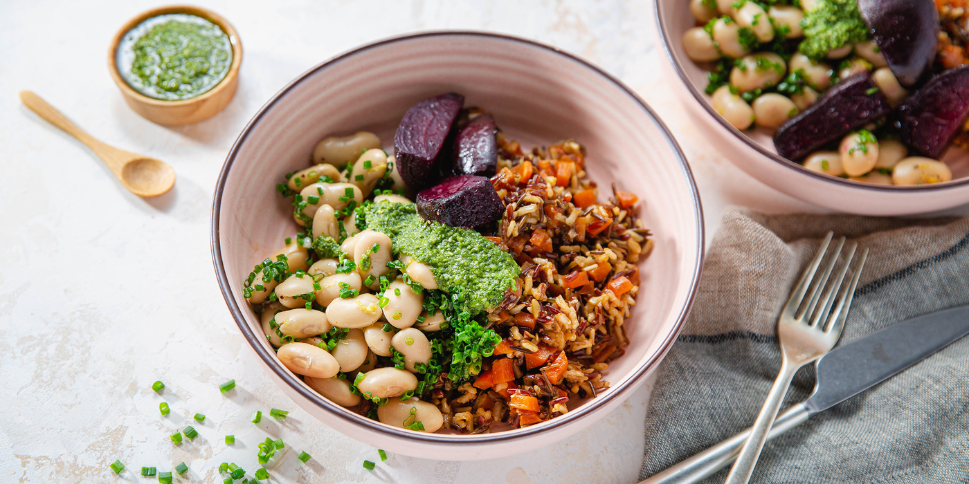 Pesto Beet Bowls with Lemon Chive Butter Beans & Wild Rice