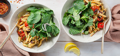 Penne al Pomodoro with Cherry Tomatoes & Baby Kale Salad