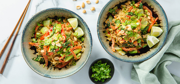 Spicy Almond Butter Noodles with Bok Choy & Red Pepper
