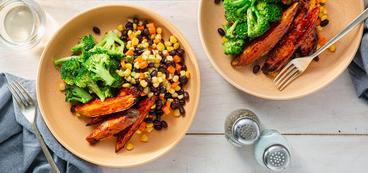 BBQ Glazed Sweet Potatoes with Broccoli & Sweet Corn Salad